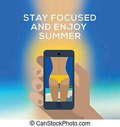 bild, smartphone, eps10, besitz, begriff, machen, gelber , hand, rückseite, swimsuit., vektor, weibliche , sandstrand, image.