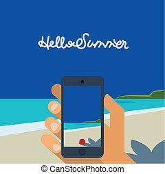 bild, smartphone, machen, hand holding, sandstrand, hallo, ...