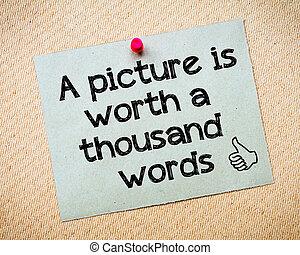 bild, tusen, värde, ord