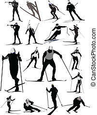 bild, vektor, abbildung, skier