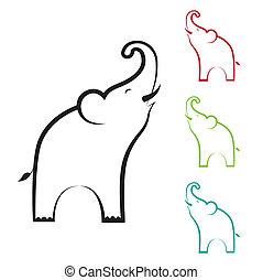 bild, vektor, design, elefant