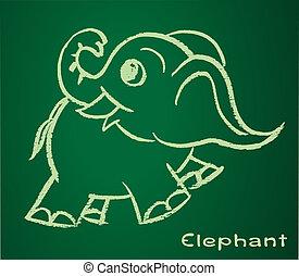 bild, vektor, elefant