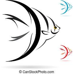 bild, vektor, fische, engelchen
