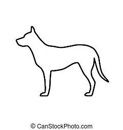bild, vektor, silhouette, grobdarstellung, hund
