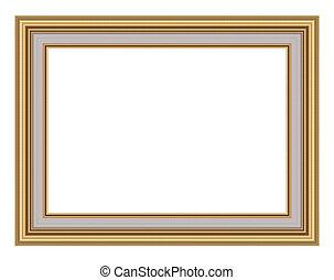 bild, vit, frame., guld, isolerat
