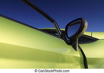 bild, von, a, detail, reizend, und, sportliche , grünes auto