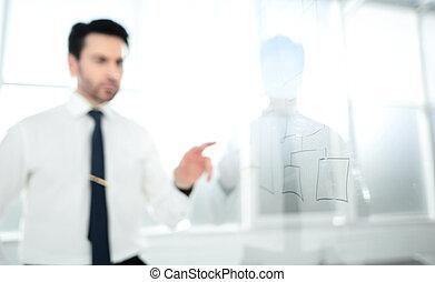 bild, von, a, ernst, geschäftsmann, sehen, a, neu , marketing, schem