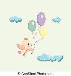 bild, von, a, vogel, mit, luftballone