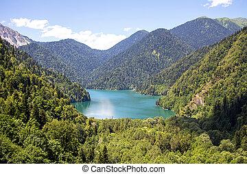 bild, von, bergsee, landschaftsbild