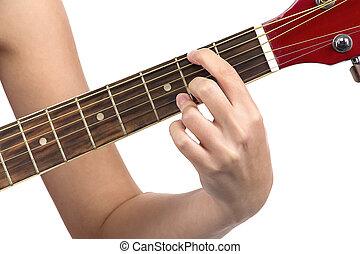 bild, von, frau, finger, auf, gitarre