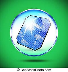 bild, von, sonnenkollektoren, ausschüsse, auf, grün, hintergrund.