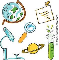 bild, wissenschaft, stuff., abbildung, vektor, gezeichnet