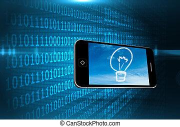 bild, wolke, smartphone, zusammengesetzt, zwiebel, licht, schirm