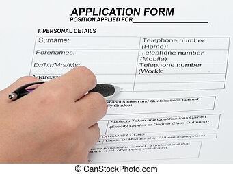 bilda, ansökan, personlig, detaljerna