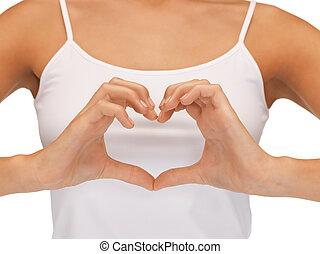 bilda, av, hjärta gestaltade