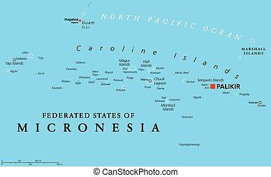 mikronesien karta Påstår, karta, politisk, federerad, micronesia. Illustration  mikronesien karta