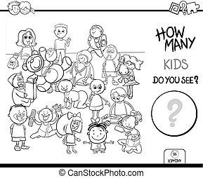 bilda, färg, lek, bok, räkning, barn