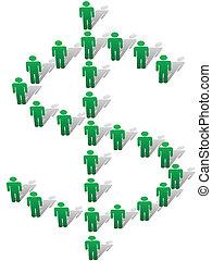bilda, folk, pengarsymbol, dollar endossera, grön, stå