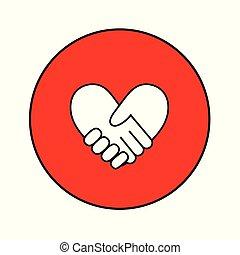 bilda, hjärta, 1, handslag