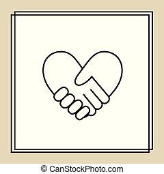 bilda, hjärta, 3, handslag