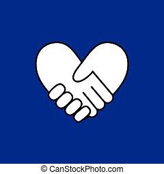 bilda, hjärta, blåttbakgrund, handslag