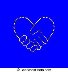 bilda, hjärta, handslag