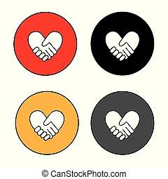 bilda, hjärta, sätta, handslag