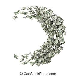 bilda, omlopp, pengar, flöde, illustration, pengar., halvt, circle., 3