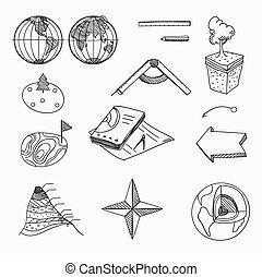 bilda, topografi, linjär, objekt, skola, icons., hand, ...