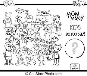 bilda, uppgift, färg, bok, räkning, barn