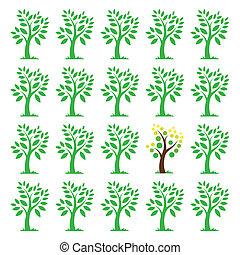 bilder, bäume., verschieden, vektor, begriffe