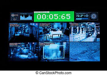 bilder, cameras, monitor, überwachung