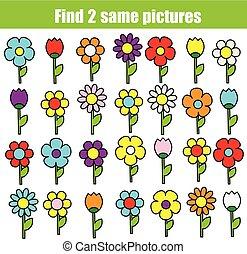 bilder, game., erzieherisch, finden, kinder, gleich, flowers., spaß, kleinkinder, kinder