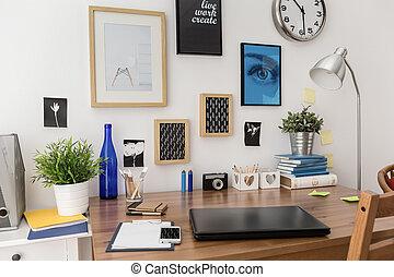 bilder, ovanför, skrivbord