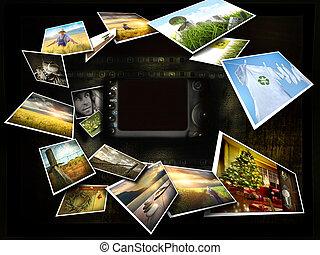 bilder, strömend, ungefähr, fotoapperat