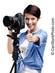 bilder, woman-photographer, nimmt, hübsch