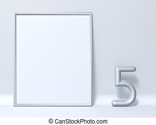 bilderrahmen, auf, zählen fünf, 5, verhöhnen, 3d