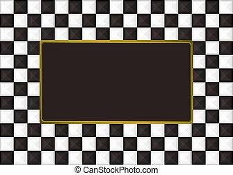 bilderrahmen, checkered, länglich