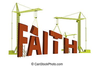 bilding faith - construction cranes building the word faith ...