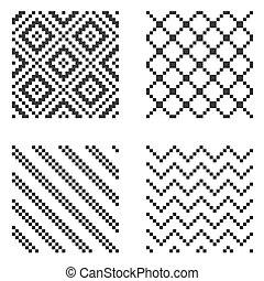 bildpunkt, seamless, mönster, set., vektor