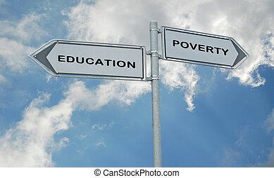 bildung, armut, straße zeichen