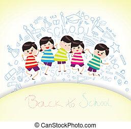 bildung, auf, zurück schule