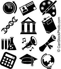 bildung, ikone, satz, schwarz