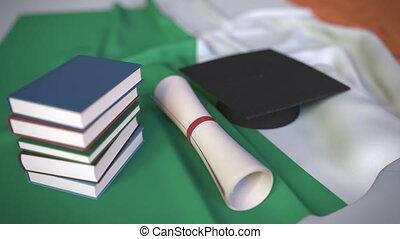 bildung, kappe, diplom, animation, irisch, verwandt,...