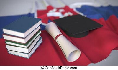 bildung, kappe, diplom, animation, slowakei, verwandt, begrifflich, buecher, studienabschluss, höher, slowake, flag., 3d
