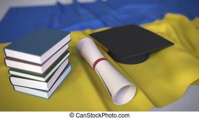 bildung, kappe, diplom, ukrainisch, animation, verwandt,...