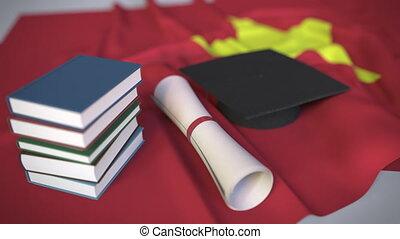 bildung, kappe, diplom, vietnam, vietnamesisch, animation,...