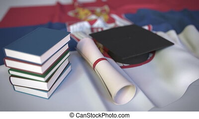 bildung, serbien, kappe, diplom, animation, verwandt,...