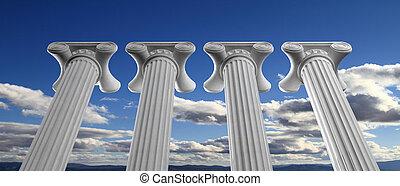 bildung, und, demokratie, concept., vier, marmor, pfeiler, auf, blauer himmel, hintergrund., 3d, abbildung