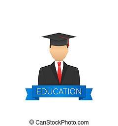 bildung, website., held, illustration., erzieherisch, process., vektor, bestand